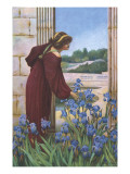 A Woman in Aesthetic Dress Picking Iris in a Classical Garden Setting