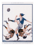 A Woman in Blue Kicks the Ball Whilst Opposing Players Tumble around Her