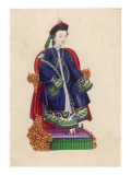 Chinese Lady Sitting on an Ornate Throne