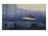 Cunard Line RMS Mauretania at Cherbourg