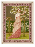 Cherry Ripe: a Pretty Lady in a Pink Dress Stands in Front of a Tree Full of Blossom