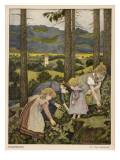 Children in a Wood  Picking Wild Strawberries