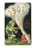 Frog Celebrating the Arrival of 1907 by Firing a Cannon