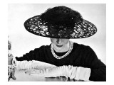 Illustration Showin a Black Lace Straw Ascot Hat  it's Large Crown Swathed with Net  1955