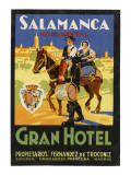 Label from the Gran Hotel  Salamanca (Spain) Featuring Typical Spanish Folklore Figures