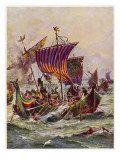King Alfred's Galleys in Battle with Vikings