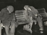 Vagrants Asleep on Bench on Thames Embankment  London
