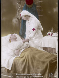 A Nurse with a Red Cross on Her Uniform Cares for a Wounded French Soldier