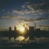 Sunset over an Oil Refinery Near Swansea  South Wales
