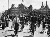 A Busy Scene in Copenhagen  Denmark  with a Lot of People Riding Bicycles