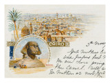 The Sphinx at Giza and a View over the Rooftops of Cairo  Egypt