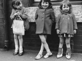 Three Young Girls on the Pavement - Manchester  1965