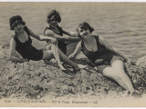 Three Bathing Beauties Relaxing by the Sea at Cayeux-Sur-Mer  France