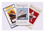 Three Sailing Lists  Two for the White Star Line  One for the Cunard Line