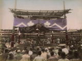 A Sumo Wrestling Contest Taking Place in Japan  Watched by a Large Crowd of Spectators