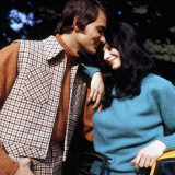 Retro Couple in 1970s Wiinter Fashions