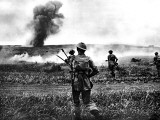 British Soldiers Advance in Tunisia; Second World War  1943