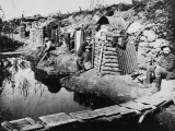 Soldiers in Dugouts at the Third Battle of Ypres During World War I in 1917