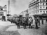 German Infantry Entering Liege During World War I Papier Photo par Robert Hunt