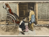 A Japanese Lady Prepares to Enter a Rickshaw