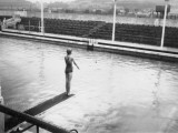 Girl on a Diving Board at Minehead  Somerset