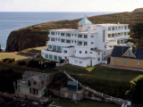 Aerial View of the Art Deco Burgh Island Hotel  Off the South Coast of Devon