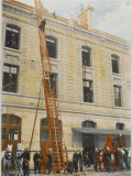 French Sapeurs-Pompiers Use a Long Ladder to Reach the Highest Floors of a Burning Building