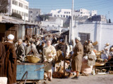 Scene at a Busy Street Market in Tangiers  Morocco