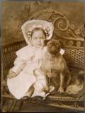 Little Girl and Pug Dog