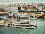 Saint Louis  Missouri: River Front  with Steamboat