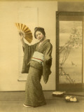 Japanese Woman in Kimono with Fan