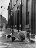 Elderly Lady Washing Her Step - Manchester 1968