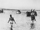 Carrying Wounded to Boats in Suvla Bay at Gallipoli During World War I