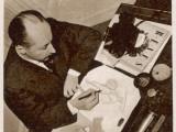 Christian Dior Sketching a Fashion Design  1948