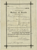 Notice of Death from Union Workhouse  Maldon  Essex