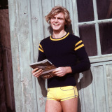 Retro Male Fashion Model 1970s  Yellow Shorts  Posing  Kitsch