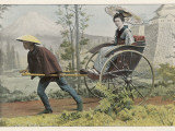 A Japanese Lady Travels by Rickshaw in a Country Setting