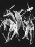A Batsman Exhibitis Four Different Shots