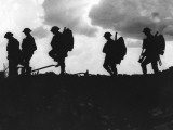 Silhouetted British Troops on the Horizon