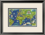 Air France: Flight Routes And Illustrated World Map  c1950