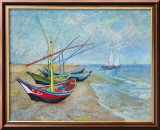 Fishing Boats on the Beach at Saints-Maries  c1888