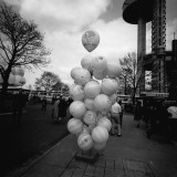 Bunch of Balloons on Stand on Street