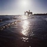 Silhouetted Couple on the Beach with Horse