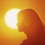 Silhouette of Woman in Profile at Sunset