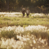 Couple Walking Holding Hands in Tall Grass Field