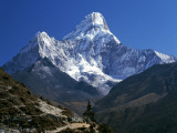 Nepal  Ama Dablam Trail  Temple in the Extreme Terrain of the Mountains