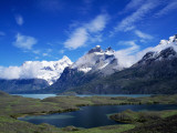 Mountain Landscape with Lakes  Torres Del Paine National Park  Patagonia  Chile