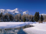 View of Grand Teton Mountain Range at Morning in Winter