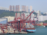 China  Hong Kong  Busy Harbor with Ships and Containers