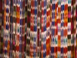 China  Silk Road  Xinjiang Province  Hotan  Carpet with Colorful Atalas Pattern